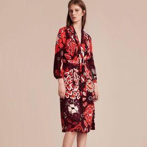 Burberry Deep Burgundy Floral Silk Dress
